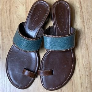 Cole Haan Turquoise Brown Leather Slode Sandals